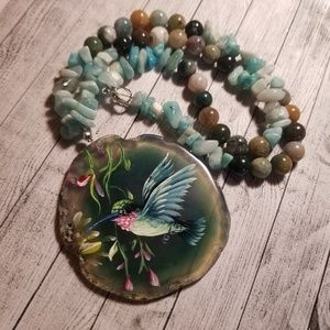 Beautiful Handpainted Stone Necklace